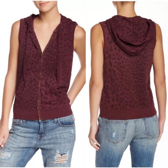 Current/Elliott Jackets & Blazers - Current Elliott Sleeveless Zip Hoodie Leopard Vest